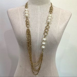 Gold pearl long statement chain necklace